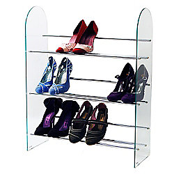 Luxor - 3 Tier 9 Pair Shoe Storage Organiser Rack - Glass / Chrome