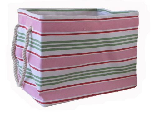 Wicker Valley Rectangular Soft Storage in Pink Stripe