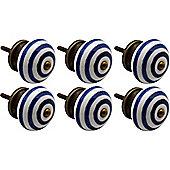 Nicola Spring Ceramic Cupboard Drawer Knobs - Stripe - Dark Blue - Pack Of 6