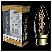 40w - Crystalite - Antique - C35 Candle - BC - Clear - Z Shape Filament - 2 pk Acetate Box