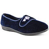 Slipper Club Ladies Violet Navy Slippers - Blue