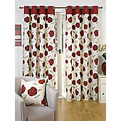 Poppy Ready Made Curtains Pair, 46 x 54 Red Colour, Modern Designer Look Eyelet curtains