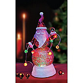 Battery Operated 22cm Glitter Blowing Santa