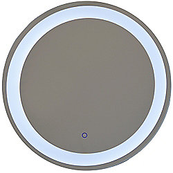 Halo - Led Illuminated Circular Wall Mirror Light With Demister - Silver