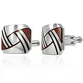 Urban Male Stainless Steel & Brown Wood Cufflinks