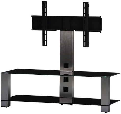 Sonorous Brushed Aluminium and Black Glass TV Stand