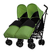 Obaby Apollo Black & Grey Twin Stroller with 2 Lime Footmuffs - Lime