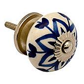 Ceramic Cupboard Drawer Knob - Floral Design - Dark Blue Flower