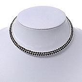 2-Row Montana Blue Swarovski Crystal Choker Necklace (Silver Plated)