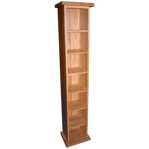 Kelburn Furniture Essentials Single CD Tower in Light Oak Stain and Satin Lacquer