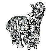 Jumbo - Curly Mirror Elephant And Baby Ornament - Silver
