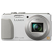 "Panasonic Lumix TZ40 Digital Camera, White, 18MP, 20x Optical Zoom, 3"" LCD Screen"