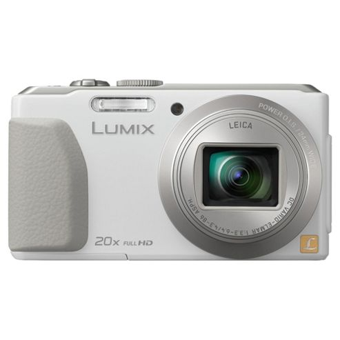 Panasonic Lumix TZ40 Digital Camera, White, 18MP, 20x Optical Zoom, 3