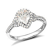 Rhodium Coated Sterling Silver Cubic Zirconia Gemstone Ring Size