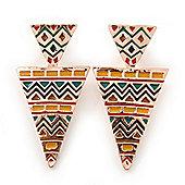Yellow, Green Enamel Geometric Egyptian Style Drop Earrings In Gold Plating - 55mm Length