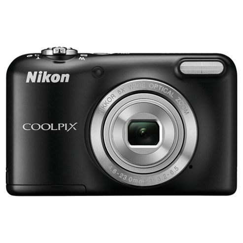 Nikon Coolpix L29 Digital Camera, Black, 16MP, 5x Optical Zoom, 2.7
