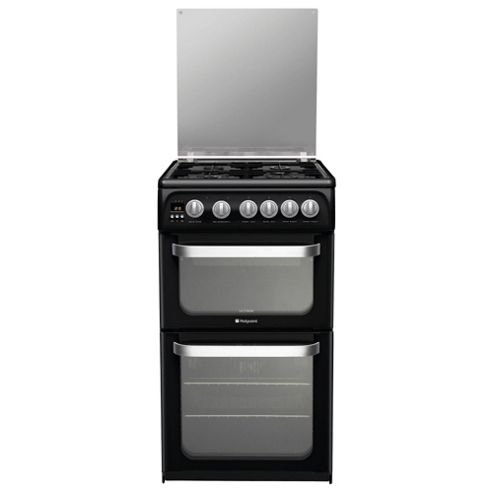 Hotpoint HUG52K, Black, Gas Cooker, Double Oven, 50cm