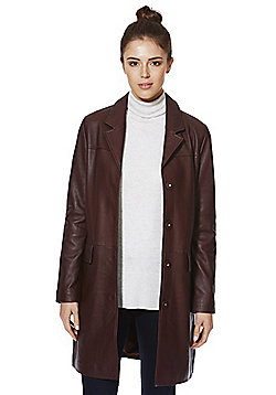 F&F Signature Leather Boyfriend Coat - Burgundy