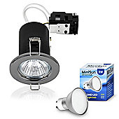 Pack of Ten MiniSun Fire Rated 5W LED GU10 Downlights, Black Chrome