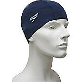 Speedo Senior Polyester Swimming Cap - Blue & White