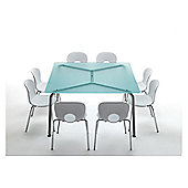 Rexite Convito Square Table - 140cm - Transparent Glass