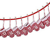 Red & White Christmas Advent Calendar Fabric Washing Line With Numbered Knitted Mittens