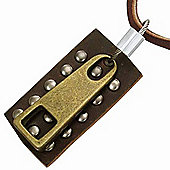 Urban Male Mens Brown Leather Zip & Dog Tag Necklace Pendant