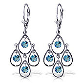 QP Jewellers 2.40ct Blue Topaz Quadruplo Milan Earrings in 14K White Gold
