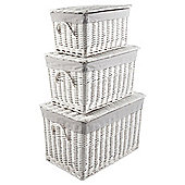 Tesco White Wicker Grey Striped Lined Lidded Trunks 3Pk