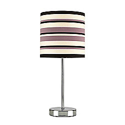 Modern Touch Table Lamp in Chrome with Brown Striped Shade