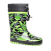 Brantano Boys Green Tie Top Camo Wellington Boots - Green
