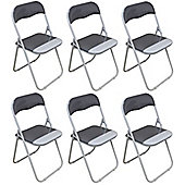 Harbour Housewares Cool Grey / White Padded, Folding, Desk Chair - Pack of 6