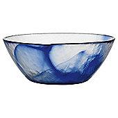 Bormioli Large Glass Salad Bowl, Blue Swirl