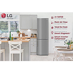 LG GBB539PZHWB, Frost Free Fridge Freezer, A+ Energy, LED Lighting, Smart Diagnosis, Shiny Steel