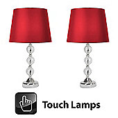 Pair of Crackle Glass Ball Touch Table Lamps in Chrome with Red Shades