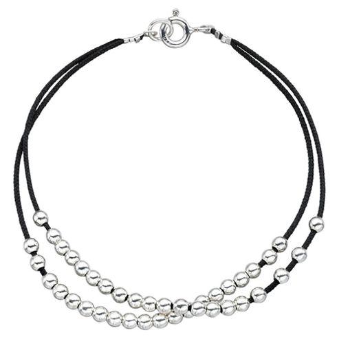 Black Cord Bracelet with Multi Sterling Silver Balls