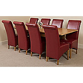 Richmond Solid Oak Extending 140 - 220 cm Dining Table with 8 Burgundy Montana Leather Dining Chairs