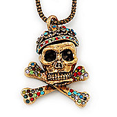 Burn Gold Multicoloured Crystal 'Skull & Bones' Pendant Long Necklace - 66cm Length/ 7cm Extension
