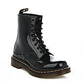 Dr. Martens Womens Black 1460 Patent Lamper Leather Ankle Boots - Black