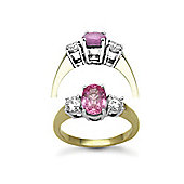 Jewelco London 18 Carat Yellow Gold 3 Stone Diamond-48pt Pink Sapphire 1.50ct Ring