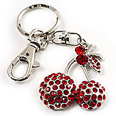Ruby Red Diamante Cherry Keyring