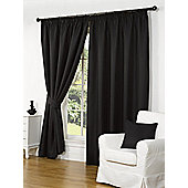 Willow Ready Made Curtains Pair, 90 x 90 Black Colour, Modern Designer Look Pencil pleated curtains