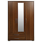 Newport Triple 2 Drawer Wardrobe With Mirror Walnut