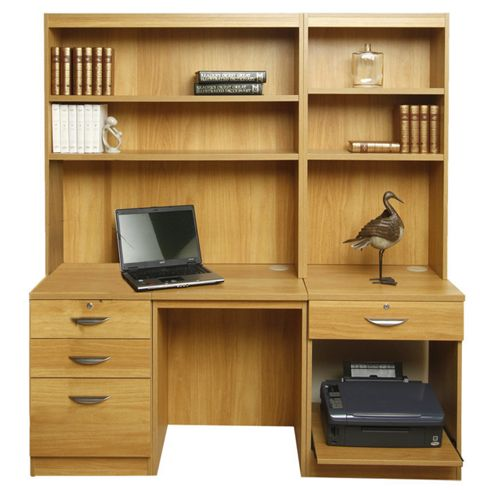 Enduro Home Office Desk / Workstation with Pedestal, Printer Storage and Inbuilt Bookshelves - Beech