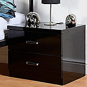 Home Essence Boston 2 Drawer Bedside Table - Black Gloss