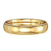 9ct Yellow Gold - 4mm Essential Court-Shaped Mill Grain Edge Band Commitment / Wedding Ring -