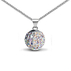 Jewelco London Sterling Silver Crystal Aurora Borealis Solitaire Pendant - 18 inch Chain