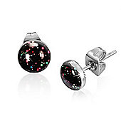 Urban Male Black Speckled Design Resin & Stainless Steel Mens Stud Earrings 7mm