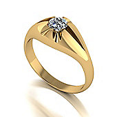9ct Gold Gents 5.0mm Round Brilliant Moisanite Ring
