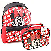 Disney Minnie Mouse Backpack and Lunchbag Bundle
